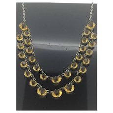 Art Deco Yellow Paste Open Back Costume Necklace Delicately Beautiful