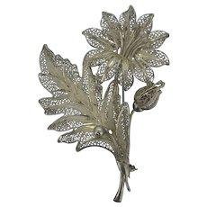 Retro Filigree Silver Statement Large Flower Brooch