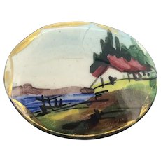 Hand Painted Porcelain Brooch Depicting Colonial Scenery Costume 1940s