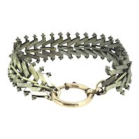Georgian Fancy Bracelet Silver Metal Large Gold Clasp 7 Inches