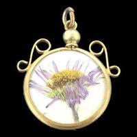 Edwardian Daisy Locket Pendant Gold Filled Double Glazed C.1900