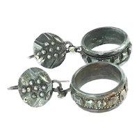 Georgian Cut Steel Drop Pierced Earrings