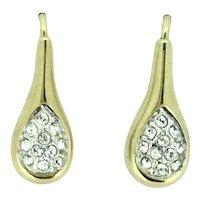 Elegant Vintage Gold Plated Crystal Pierced Earrings Art Deco Style