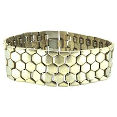 Trifari Wide Gold Plated Honey Tessellated Bracelet Alfred Philippe