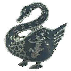 Siam Niello Style Thailand Goose Silver Enamel Brooch Pin