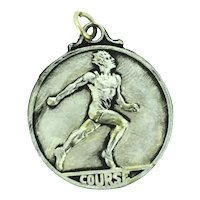 Old Running Medal Course Textured White Medal Costume c.1920