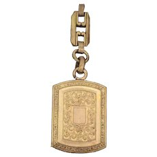 Edwardian French Rose Rolled Gold Fob Chain Pendant Engraved Patterns