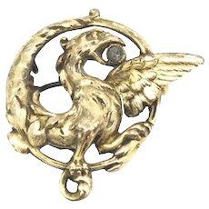 14CT Art Nouveau Phoenix Eagle Paste Pendant Brooch