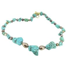 Artisan Turquoise Pearls Necklace 16.5 inches