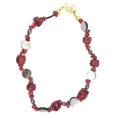 Arts and Crafts Coral Abalone Necklace 17 inches
