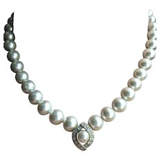 Ciro Faux Pearls Crystal Retro Necklace 17 Inches