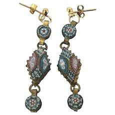 Italian Micromosaic Pierced Dangle Earrings C.1920