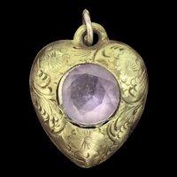 Victorian Aesthetic Amethyst Heart Pendant Gilt Metal Extraordinary c.1900