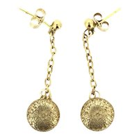 Edwardian 9CT Drop Earrings Embossed Flowers Recycled Old Buttons c1900