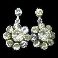 French Paste Dormeuse Earrings Silver Hallmarked Flowers Dangle c.1900