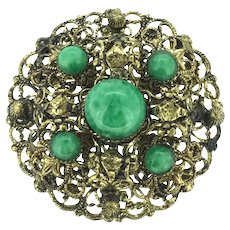 Czech Glass Filigree Brooch Pin Circa 1920