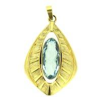 Retro Amerikaner Blue Paste Gold Plated Deco Style Pendant
