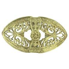 Art Nouveau Gilt Filigree Statement Brooch Pin Spectacular c.1900