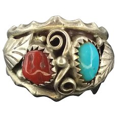 Arts and Crafts Silver Coral Turquoise Ring beauty