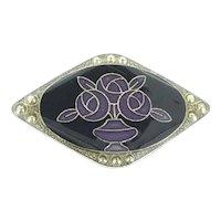 Art Nouveau Design Enamelled Brooch Pin