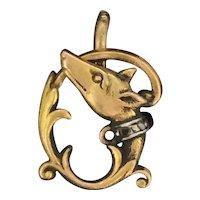 Art Nouveau 9CT Diamond Small Fox Pendant Spectacular Beauty