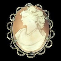 Vintage Carved Cameo Shell 9CT RG Hallmarked Brooch Lace Pin