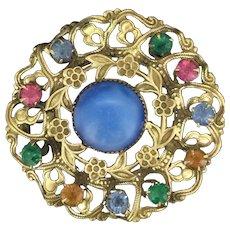 Tutti Fruity Czech Glass Brooch Pin Costume Metal C.1930