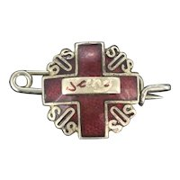 Collectable SOS Depose French Red Enamel Pin Brooch c.1930