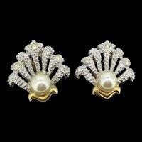 Art Deco Style Faux Pearls Paste Pierced Lever Back Stud Earrings