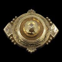 Victorian Etruscan Revival Gold Mourning Locket Brooch C.1850