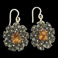 9CT Edwardian Citrine Seed Pearls Earrings Pierced Stunning c.1910