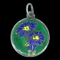 Silver Sterling 925 Enamelled Flowers Pendant Charm C.1940