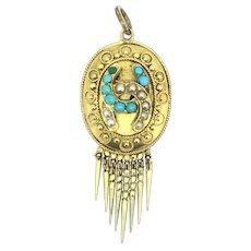 Georgian 18CT Turquoise Seed Pearls Tasseled Pendant Etruscan Revival 1830