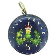 Collectable Enamelled Pendant 5 Pence Scottish Thistle Queen Elizabeth