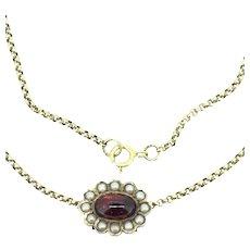 Antique 9CT Slider Garnet Chain Necklace Hallmarked c.1890
