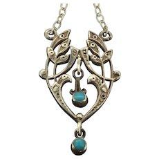 Art Nouveau 935 Turquoise Astonishing Pendant
