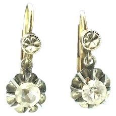 French Dormeuse Trembleuse Earrings Rock Crystal Stones c.1900
