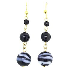 Victorian Style Banded Agate Earrings Gilt Metal Graduated Drops Enchanting