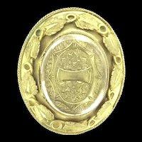 Georgian Pinchbeck Locket Pin Brooch Aesthetic Vines Divine C.1840
