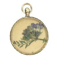 Victorian Rolled Gold Pressed Flowers Locket Pendant Aesthetic Hallmarked