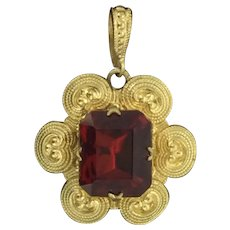 Victorian Style Pendant Chantilly Filigree Backed Foiled Red Stone