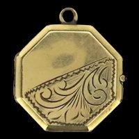 Hexagonal Locket Pendant Rolled Gold Embossed Patterns c.1935