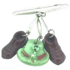 Bakelite Souvenir Brooch Pin Adorable Shoes Hat