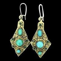 Silver Gilt Czech Glass Earrings Textured Filigree Drops Pierced Astounding