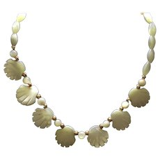 Arts and Crafts Necklace Mother of Pearls Shell Shaped Adorable 15 inches