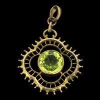 Edwardian Rolled Gold Green Paste Pendant c.1910