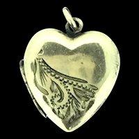 Edwardian Locket Pendant Rolled Gold Heart Hinged Embossed Pattern