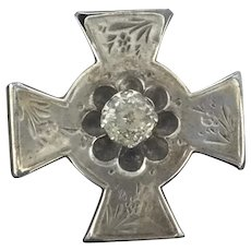 Victorian Style Silver Paste Aesthetic Brooch Pin Cross