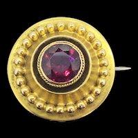 Georgian Pinchbeck Paste Brooch Pin Etruscan Revival C1830