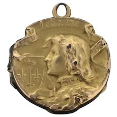 Art Nouveau French Fix Textured Pendant 14CT Gold Cased